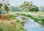 A River Runs Through It, Dexter, Mi Plein Air Festival -.  Watercolour Arches paper 15″ x 10 1/2″ mat & Neilson Frame 20 x 16 $275. On display at the Dexter Library until Feb 9th, 2015