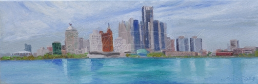 Detroit Skyline, Plein Air oil on canvas 8 x 24 x 1 1/2