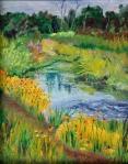 A River Runs Through Dexter. 8 x 10 Oil on board in private collection. Dexter Plein Air Festival.  Sold!
