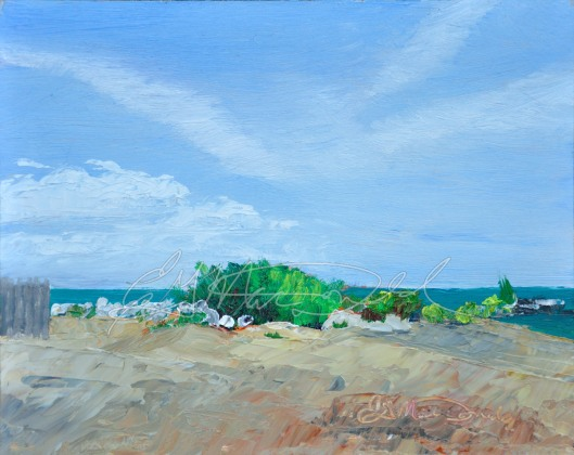 A Day at the Beach, 8 x 10 oil on panel.
