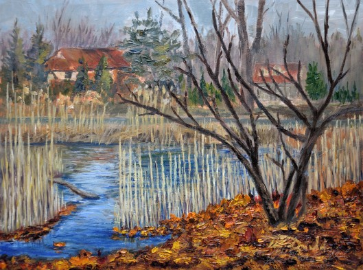 On the Verge of Winter, Ojibway.  Plein Air 9 x 12 Oil on Ampersand Museum Series Gessoboard, Plein Air $350